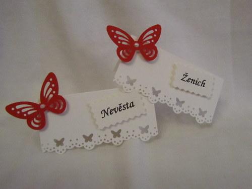 Svatební jmenovky na  přání - butterfly červený