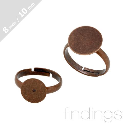 Prsten s ploškou 8mm / Staroměď / 3ks