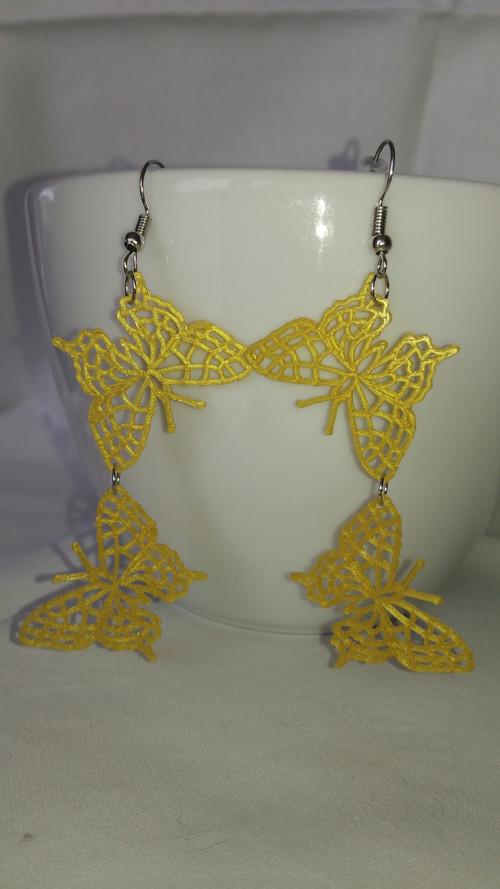 náušnice motýlci 3D tisk zlaté