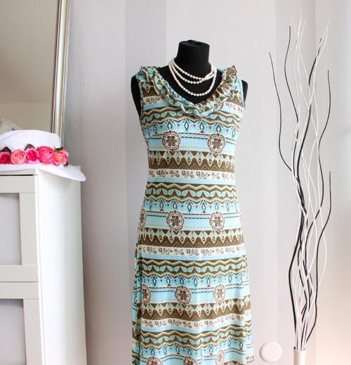 Tyrkysovo-hnědé vzorované chic retro šaty