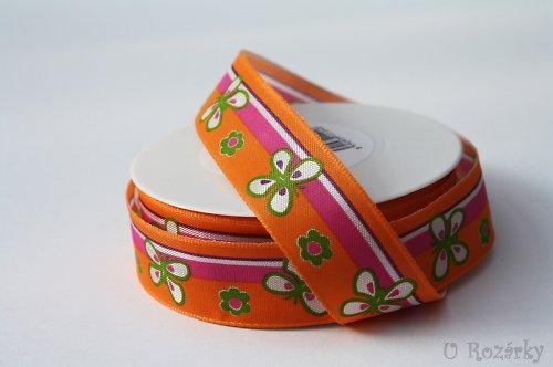 Stuha monofilová - šířka 25 mm (oranžový motýlek)