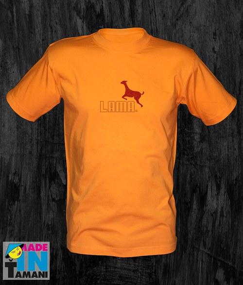 Pánské oranžové tričko s Lamou 05