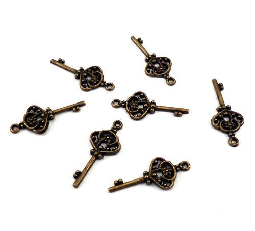 klíček zdobený větší bronz, 10ks
