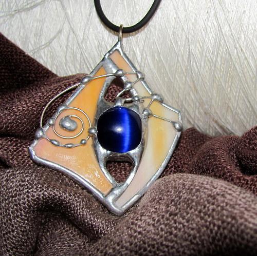 Náhrdelník - tmavě modrý selenit v oranžovém skle
