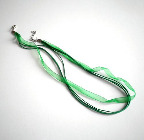 Náhrdelníková stužka z organzy zelená