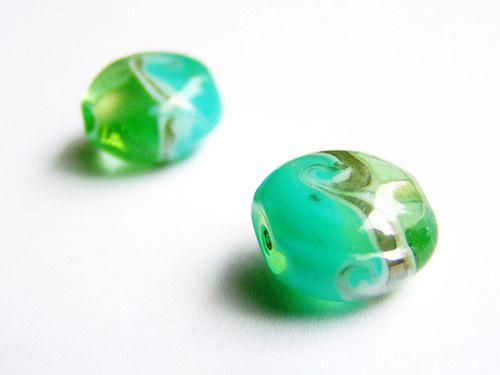 Zelenotyrkysová placička s vlnkou ((V8))
