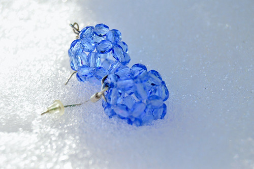 Modré kouličky sněhové - náušnice