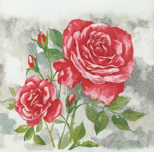 Ubrousek - malovené růže červené