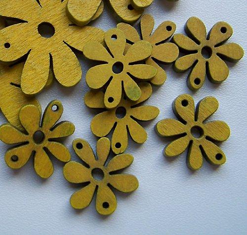Dřevěná kytička s očky žlutá malá, 4ks