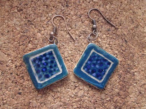 Keramické náušnice Modré čtverce