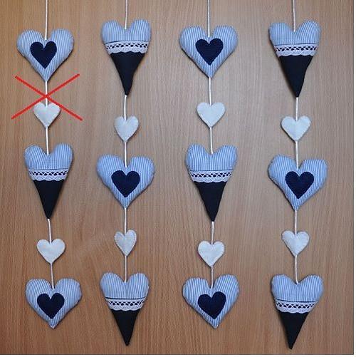 Srdíčková girlanda - modrá