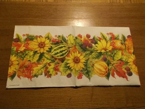 Ubrousek na decoupage - podzimní šál
