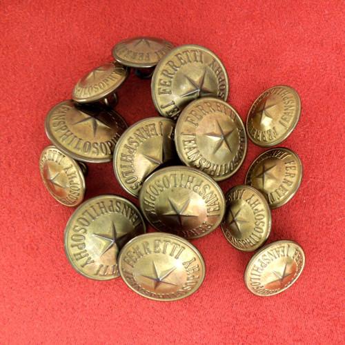 Knoflík kovový Set 7 větších + 7 menších