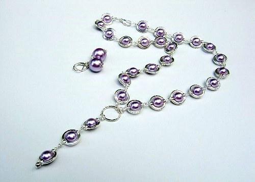 Soft violette set,náhrdelník, náramek, 2x náušnice