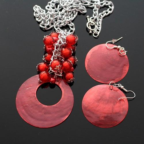 Červená perleťová sada - náhrdelník+náušnice - VÝP