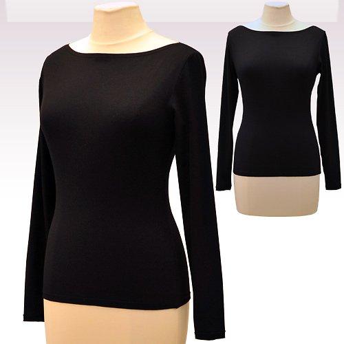 Černé tričko belaroma dlouhý rukáv, lodičkový výst