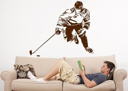 Samolepka na zeď - Hokejista (48 x 40 cm)