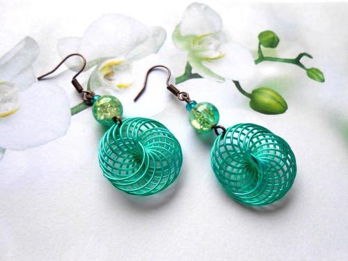 Náušnice spirálky zelené