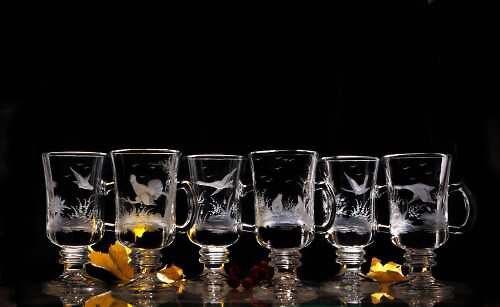 6x sklenice Venezia na kafe -lovecký motiv