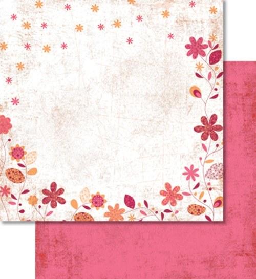 Oboustranný papír - Růžové kytky