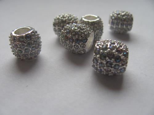Kovový spacer s kamínky 10x10  mm - duhový