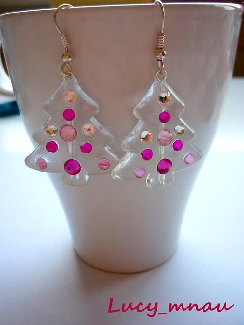 Náušničky stromčeky-ružové :)