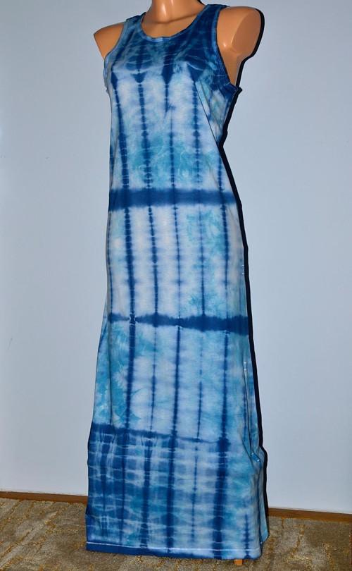 Bílo-modré dámské batikované šaty M/L