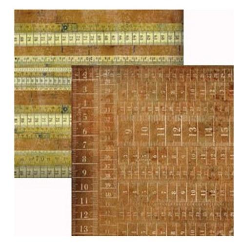 Oboustranný papír na scrapbook Páskový metr