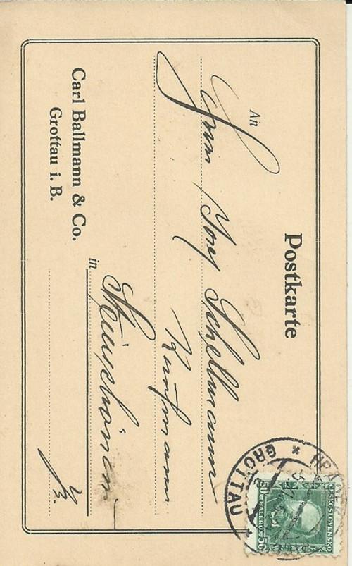 Dopisnice Grottau 1930 Ballmann