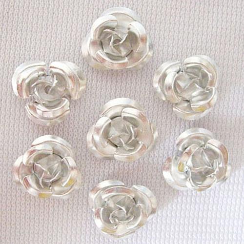 kovový korálek růže/ stříbrná/ 10 mm/ 10ks