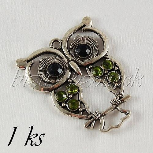 Obrýlená sova se zelenými křídly - 1ks,stříbrná b.