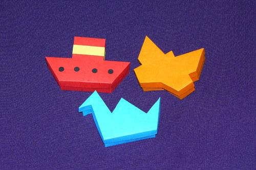 tři krabičky - motýl, labuť, parník