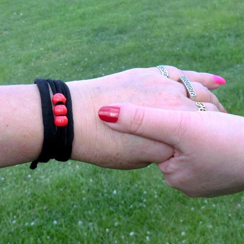 Variabilní - Černá + červená * náramek / choker