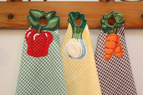 Utěrky s poutky ve tvaru zeleniny