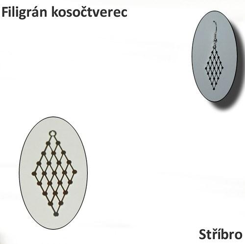 Filigrán kosočtverec - stříbro