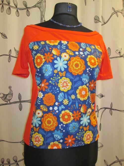 Halenka barevná modro-oranžová