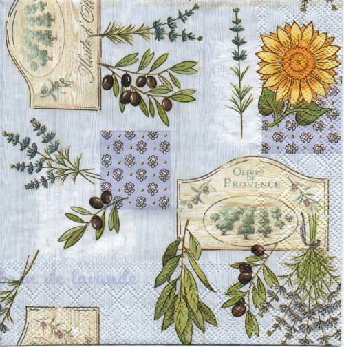 Papírový ubrousek, levandule, olivy, 2 ks