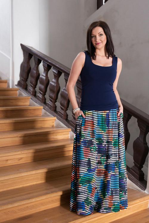 Dlouhá sukně s kapsami - pruhovaná s květy