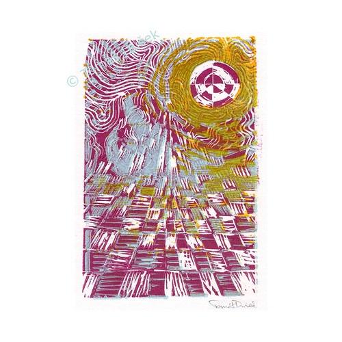 »Slunce nad krajinou« - barevný linoryt