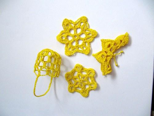 Háčkovaná dekorace - žlutá sada