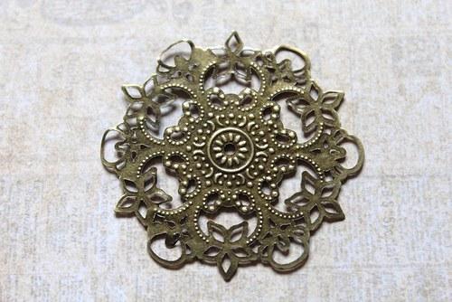 vintage bronzový bižu komponent