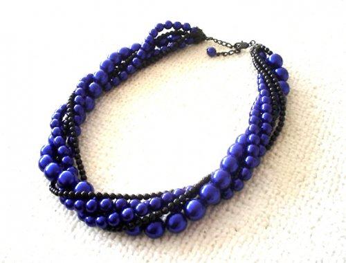 Náhrdelník voskový modrý