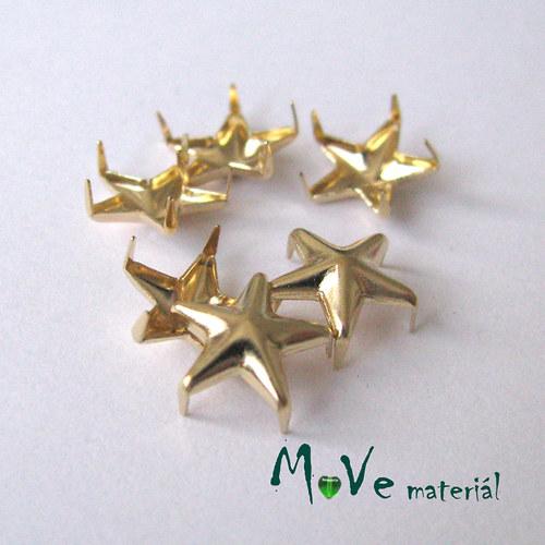 Cvočky na oblečení 10mm hvězda, 6ks, zlaté