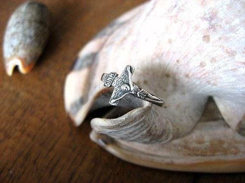 Ring with cross - starostříbrný prsten.