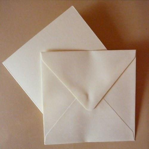 Krémové obálky a přání 13,5x13,5 cm, 5 ks