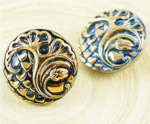 1ks Gold Crystal Blue Strom, List, Květ, Kolo, Ruč