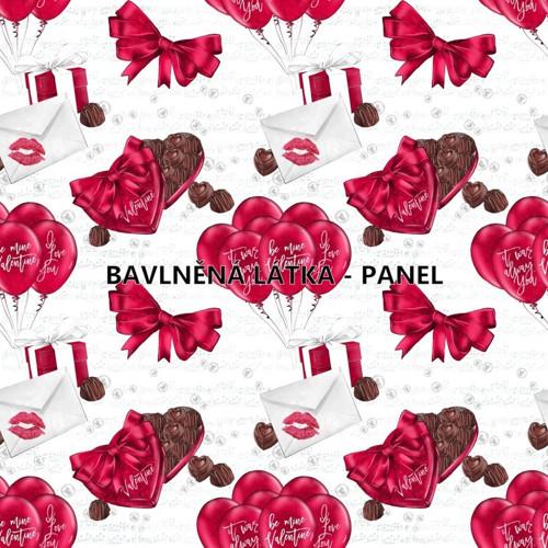 bavlněná látka - panel 16 x 16 cm KOLEKCE LOVE