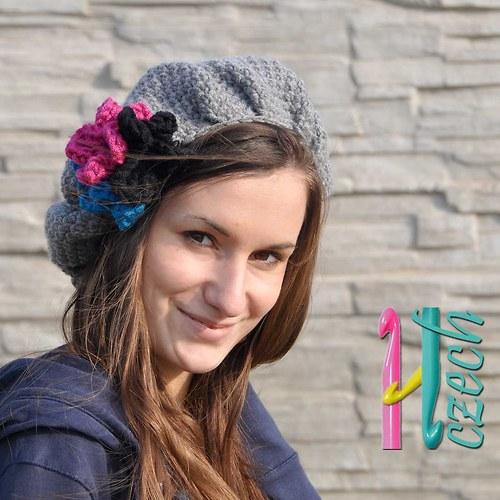 Zimní baret šedý květ - vyberte si barvu.