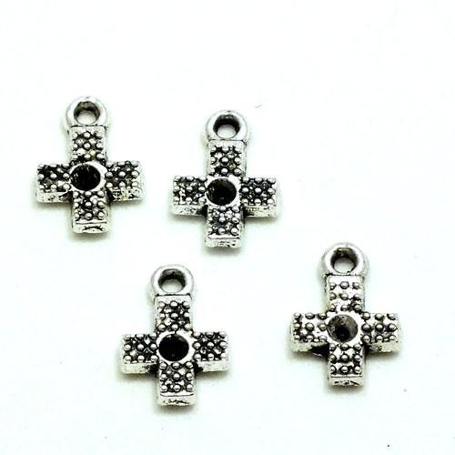 Přívěsek -  malý křížek s lůžkem na korálek, 4 ks