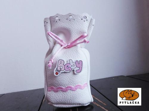 Kožený měšec s baby - růžový